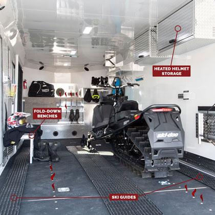 Snowmobile Trailer Options - Helmet Storage, Benches, Ski Guides