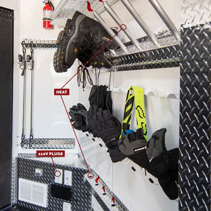 Snowmobile Trailer Options - 110V Plugs, Heated Boots & Heated Gloves